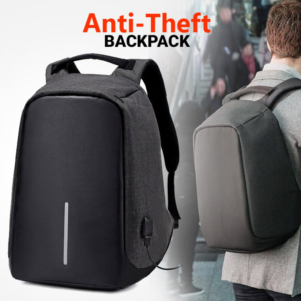 Anti-Theft 18 Inch Backpack With USB Port Grey