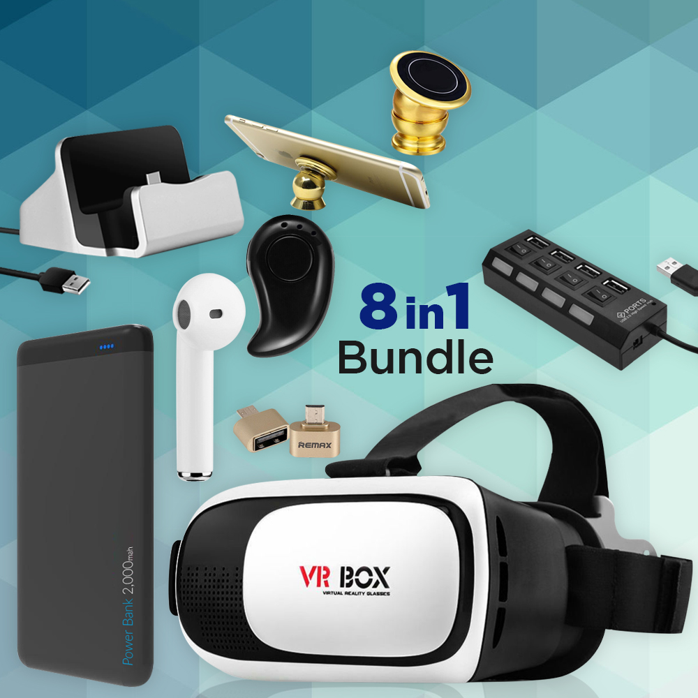 8 In 1 Bundle Of 4 Port USB Power Hub + 20,0000 mAh Quick Charge Power Bank With 3 USB Port + I7 Wireless Bluetooth Mini Single Earphone With Mic + Vr Box 3D Glasses + Invisible Single Bluetooth Headset + USB Otg Connector + Charge And Syn Micro USB Dock