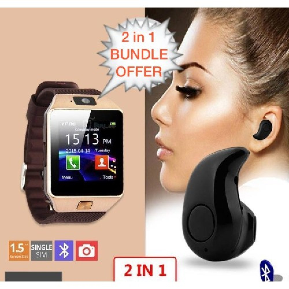 2 In 1 Bundle Deal Of Dz09 Bluetooth Smart Watch Phone + Invisible Single Bluetooth Earphone - SHWB25